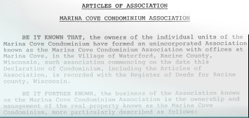 Marina Cove Condominium Association Articles of Association
